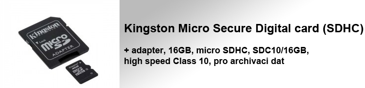 Kingston Micro Secure Digital card (SDHC) + adapter, 16GB, micro SDHC, SDC10/16GB, high speed Class 10, pro archivaci dat