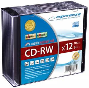 CD-RW ESPERANZA slim box 700MB 12x 5-pack