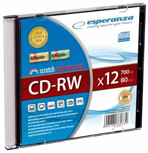 CD-RW ESPERANZA slim box 700MB 12x