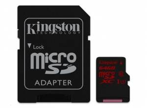Kingston 64GB Micro SecureDigital (SDHC UHS-I) Card, Class 3 + SD adaptér