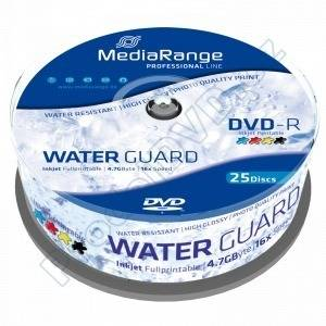 DVD-R Mediarange 4,7GB 25cake 16x Waterguard Photo Inkjet Fullprintable MRPL612