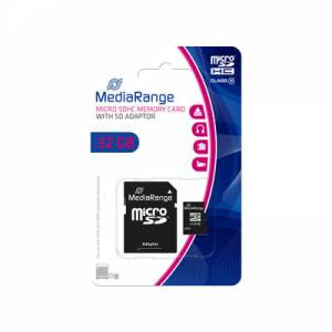 Secure Digital Card 32GB micro Mediarange Class 10 + SD adapter MR959