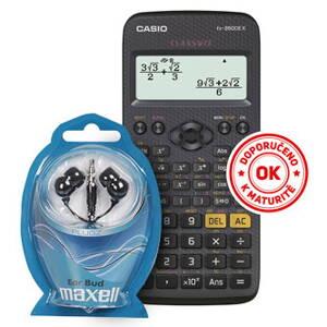 81f58b1476dd4 Casio Kalkulačka se sluchátky Maxell FX 350 CE X, černá, školní,  dvanáctimístná