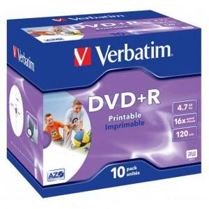 Verbatim DVD+R, 43508, DataLife PLUS, 10-pack, 4.7GB, 16x, 12cm, General, Advanced Azo+, jewel box, Wide Printable, pro archivaci