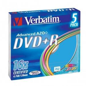 Verbatim DVD+R, 43556, DataLife PLUS, 5-pack, 4.7GB, 16x, 12cm, General, Advanced Azo+, slim box, Colour, bez možnosti potisku, pr
