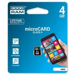 Goodram Micro Secure Digital Card, 4GB, micro SDHC, M400-0040R11, Class 4, pro archivaci dat