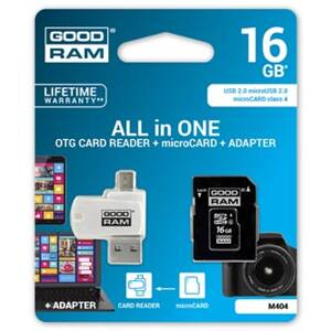 Goodram All-In-ONe, 16GB, multipack, M404-0160R11, Class 4, se čtečkou a adaptérem