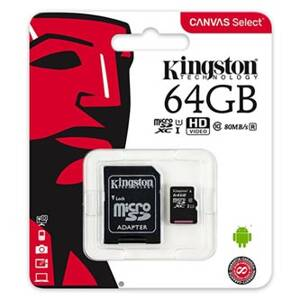 Kingston paměťová karta Canvas Select, 64GB, micro SDXC, SDCS/64GB, UHS-I U1 (Class 10), s adaptérem