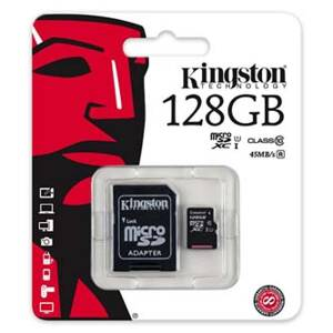 Kingston Micro Secure Digital Card, 128GB, micro SDXC, SDC10G2/128GB, UHS-I, s adaptérem