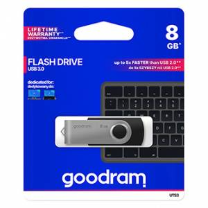 Goodram USB flash disk, 3.0, 8GB, UTS3, černý, UTS3-0080K0R11