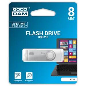 Goodram USB flash disk, 2.0, 8GB, UTS2, bílý, UTS2-0080W0R11, podpora OS Win 7