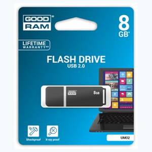 Goodram USB flash disk, 2.0, 8GB, UMO2, černý, UMO2-0080E0R11