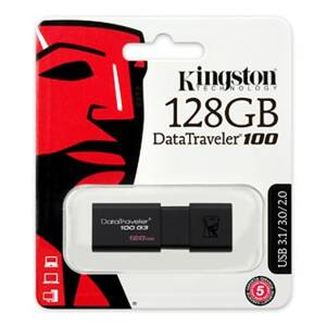 Kingston USB flash disk, 3.0, 128GB, DataTraveler 100 Gen3, černý, DT100G3/128GB
