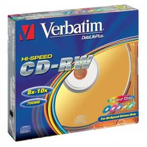 Verbatim CD-RW, 43167, DataLife PLUS, 5-pack, 700MB, Serl, 8-12x, 80min., 12cm, Color, bez možnosti potisku, slim box, Color, pro