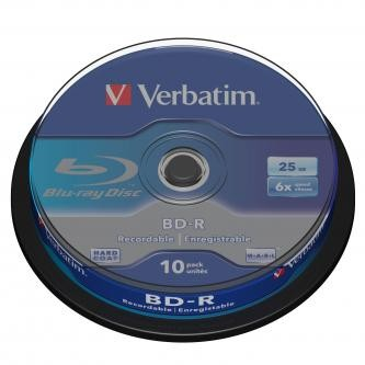 Verbatim BD-R, Single Layer, 25GB, cake box, 43742, 6x, 10-pack, pro archivaci dat