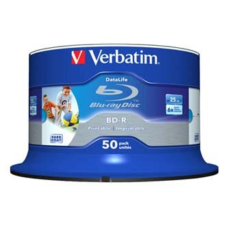 Verbatim BD-R SL, Hard Coat protective layer Wide Inkjet Printable, 25GB, Spindle, 43812, 6x, 50-pack, pro archivaci dat