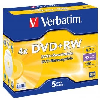 Verbatim DVD+RW, 43229, DataLife PLUS, 5-pack, 4.7GB, 4x, 12cm, General, Standard, jewel box, Scratch Resistant, bez možnosti poti