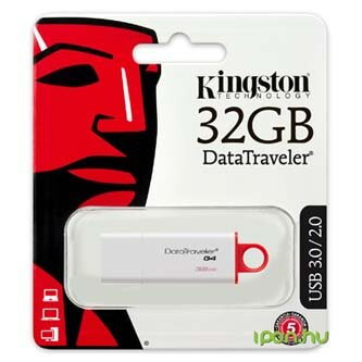Kingston USB flash disk, USB 3.0 (3.2 Gen 1), 32GB, Data Traveler DTI-G4, bílý, DTIG4/32GB, USB A, s krytkou